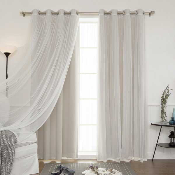 Aurora Home Mix & Match Blackout and Sheer Tulle Lace 4 Piece Curtain Panel Set