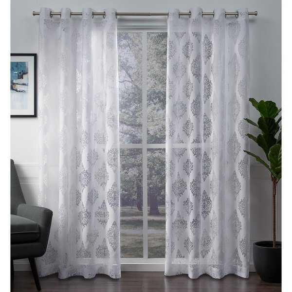 ATI Home Birmingham Burnout Sheer Grommet Top Curtain Panel Pair