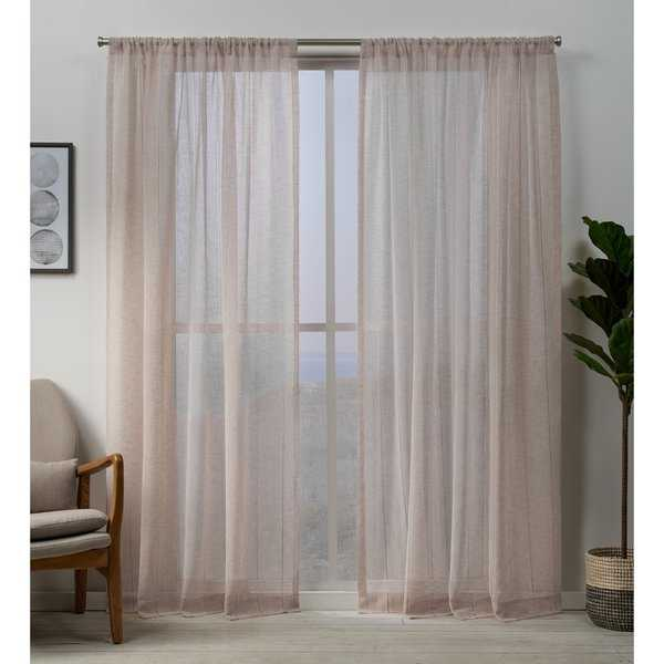 ATI Home Hemstitch Sheer Embellished Rod Pocket Top Curtain Panel Pair
