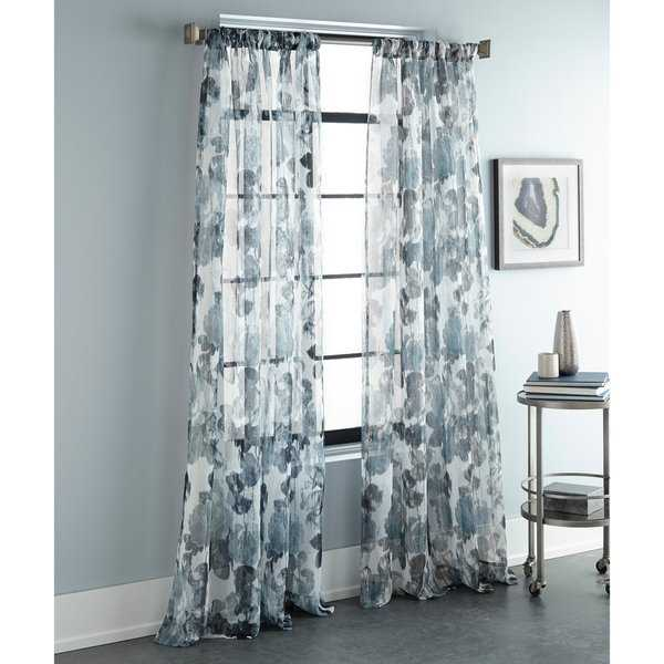 Sherry Kline Argasio Teal 96-inch Printed Sheer Panel (Pair) - 52 X 96
