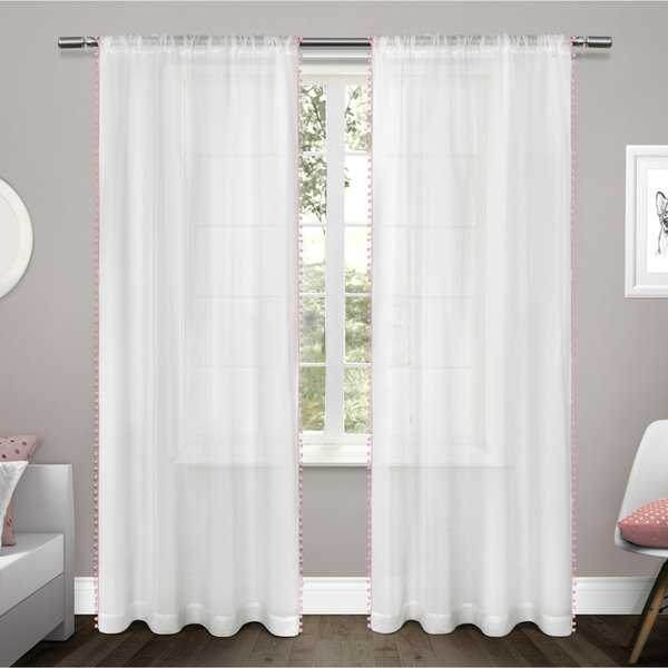 ATI Home Pom Pom Applique Sheer Rod Pocket Top Curtain Panel Pair