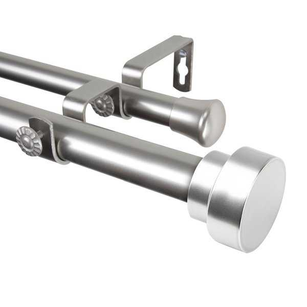 Rod Desyne Bonnet 1' Steel Double Curtain Rod 28'-48' - Satin Nickel