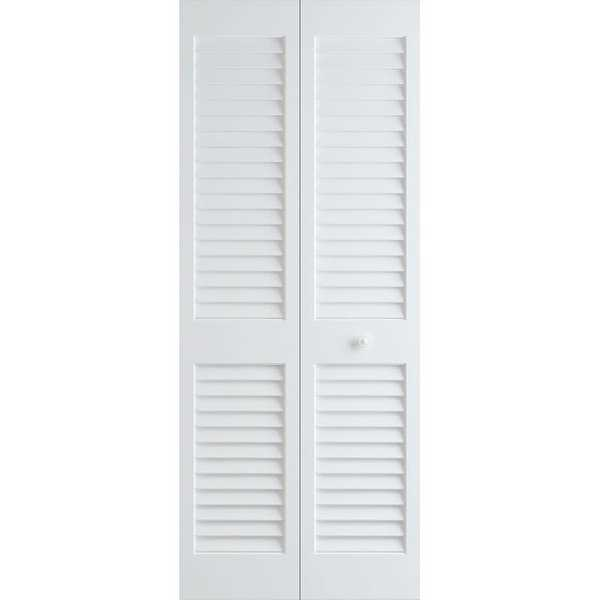 Frameport PLA-BI-L-6-2/3X2-1/2-H Plantation 30' by 80' Louver/Louver Interior Bi-Fold Door with Installation Hardware