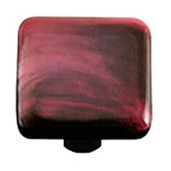 Hot Knobs Swirl Dark Cranberry Square Glass Cabinet Knob - Black Post